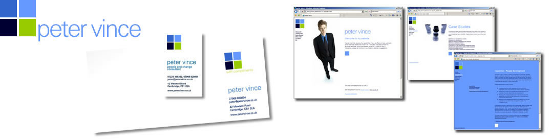 peter vince logo and website