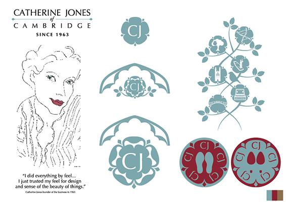 Catherine Jones of Cambridge branding elements